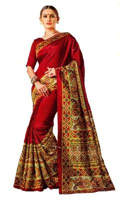 Red Printed Banglori Silk Saree With Blouse
