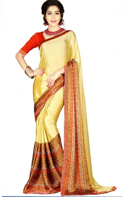 Beige Printed Crepe Silk Saree With Blouse