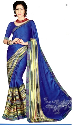 Blue Printed Crepe Silk Saree With Blouse