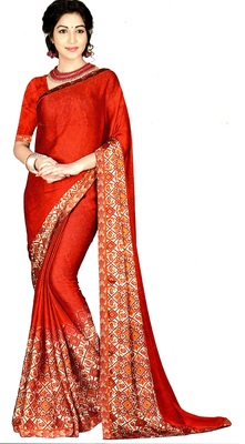 Red Printed Crepe Silk Saree With Blouse