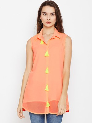 Jashn peach shirt style georgette short tunic