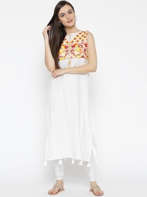 Jashn white embroidered yoke cotton kurti