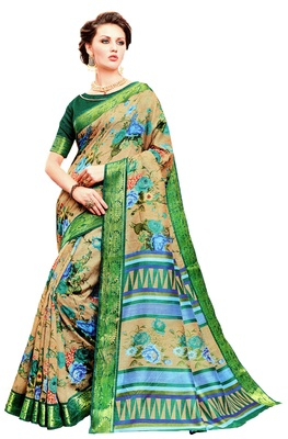 Multicolour Printed Silk Saree With Blouse