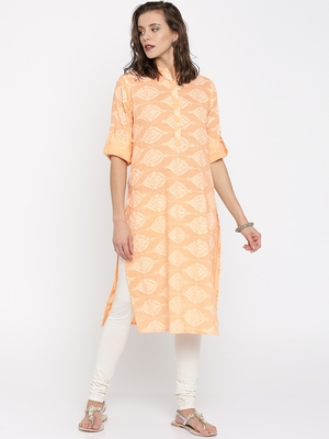 Jashn peach ethnic print cotton kurti