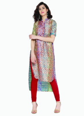 Jashn blue ethnic print tussar kurti