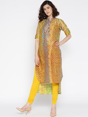 Jashn green ethnic print tussar kurti
