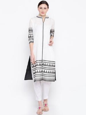 Jashn white tribal print cotton kurti