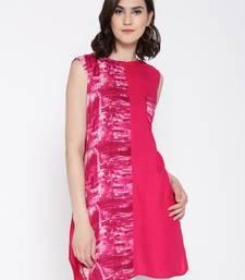 Jashn magenta print, solid panel rayon tunic