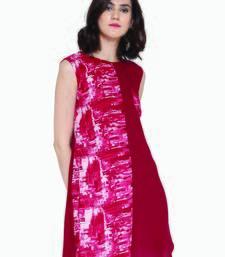 Jashn maroon print, solid panel rayon tunic