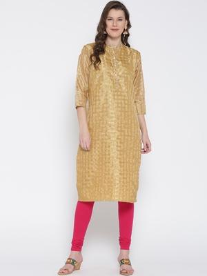 Jashn gold checks woven chanderi kurti