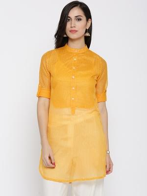 Jashn yellow regular fit chanderi kurti