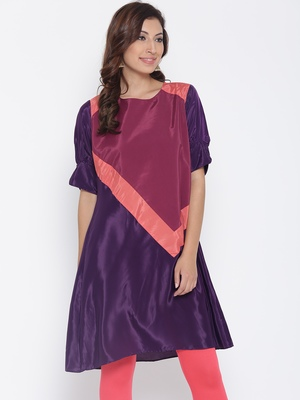 Jashn wine color-block patterned crepe kurti