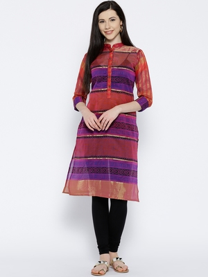 Jashn pink printed gold zari woven chanderi kurti