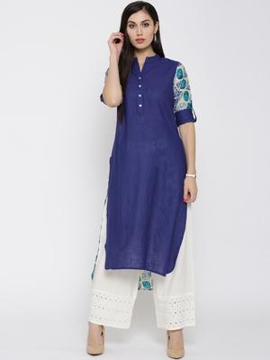 Jashn blue regular fit cotton kurti