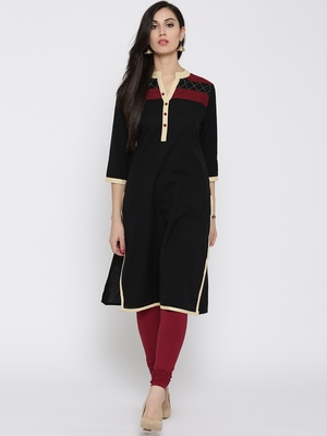 Jashn black comfort fit straight cotton kurti