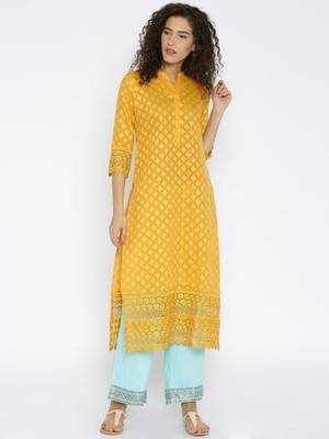 Jashn yellow jacquard straight kurti with mandarin collar and crochet lace detailing
