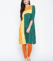 Buy Jashn green stylised regular fit crepe kurti long-kurtis online