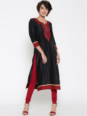 Jashn black embroidered straight cotton kurti