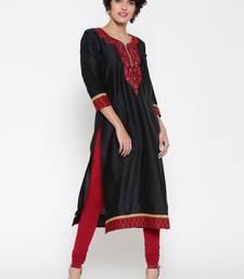 Buy Jashn black embroidered straight cotton kurti indian-dress online
