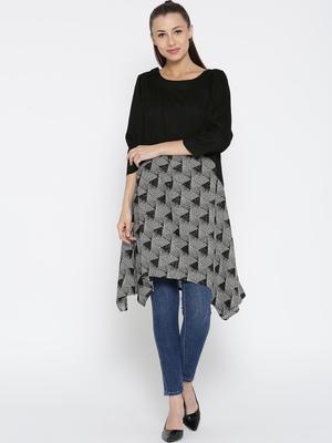Jashn black geometric print rayon tunic