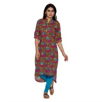Jashn rani botanical print cotton kurti