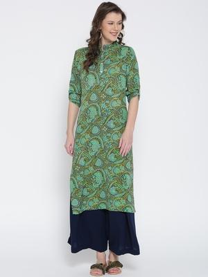 Jashn green floral print crepe kurti
