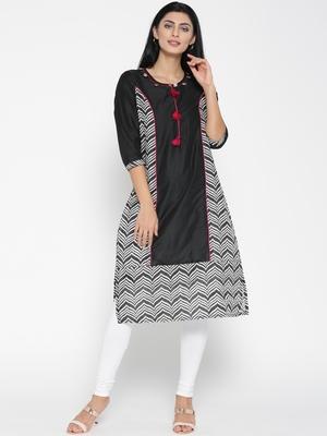 Jashn black chevron print chanderi kurti