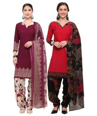 Wine & Red Digital Print Crepe Salwar With Dupatta