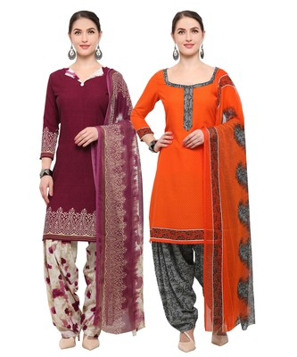 Wine & Orange Digital Print Crepe Salwar