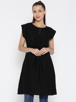 Jashn black button detail linen tunic