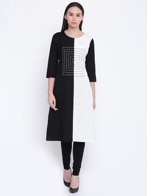 Jashn white and black cotton kurti