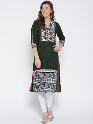 Jashn green tribal floral print cotton kurti