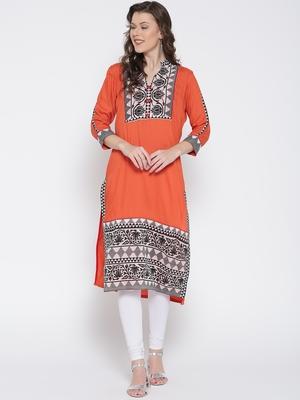Jashn rust tribal floral print cotton kurti
