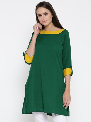 Jashn green back button detailed cotton kurti