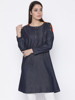 Jashn blue embroidery detailed denim kurti