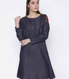 Buy Jashn blue embroidery detailed denim kurti ethnic-kurtis online