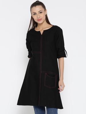 Jashn black thread detailing linen tunic