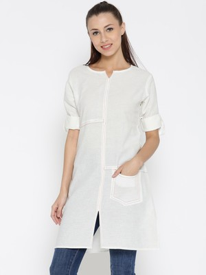 Jashn white thread detailing linen tunic