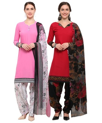 Pink & Red Digital Print Crepe Salwar With Dupatta