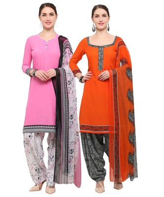 Pink & Orange Digital Print Crepe Salwar