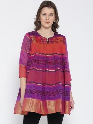 Jashn magenta ethnic print chanderi kurti
