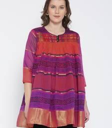 Buy Jashn magenta ethnic print chanderi kurti ethnic-kurtis online