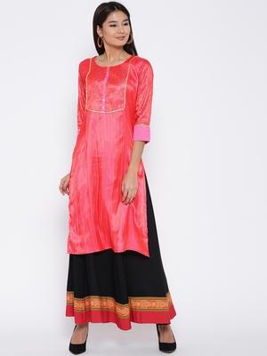 Jashn  pink foil embellished neon silk  kurti