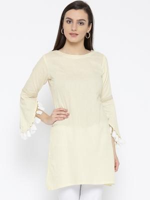 Jashn beige tassel, detail woven cotton kurti