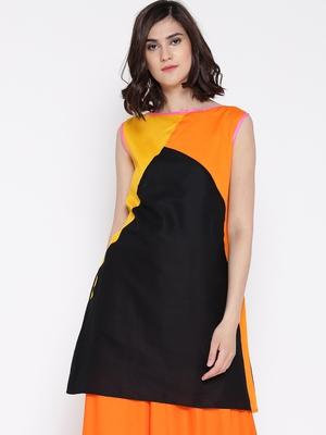 Jashn black color blocking cotton matty tunic