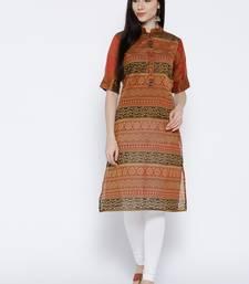 Buy Jashn mustard printed chanderi kurti ethnic-kurtis online