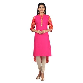 Jashn pink abstract print cotton straight kurti