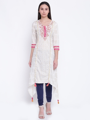 Jashn offwhite ethnic detailed cotton kurti