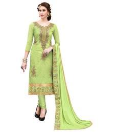 Buy Green embroidered cotton salwar semi-stitched-salwar-suit online