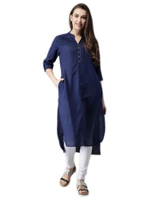 Blue plain cotton party-wear-kurtis